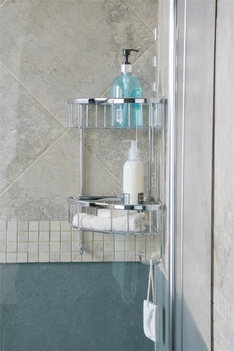 30 Off Roman Double Corner Wall Shower Basket With Hooks Bathroom Shower Baskets