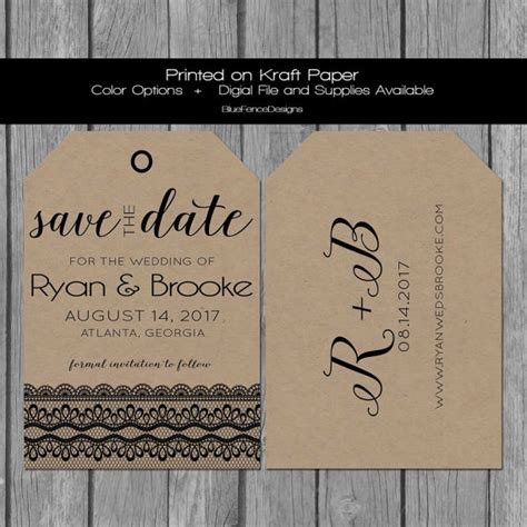shabby chic save the date cards save the date card luggage tag save the date lace save the date kraft paper save the date