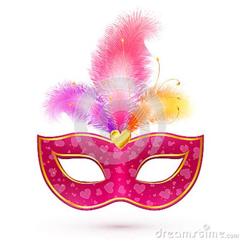 pink carnival mask  feathers stock vector image