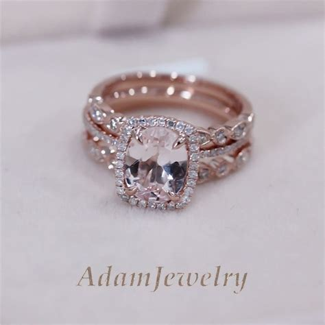 3 rings set vs 7x9mm pink morganite wedding set matching