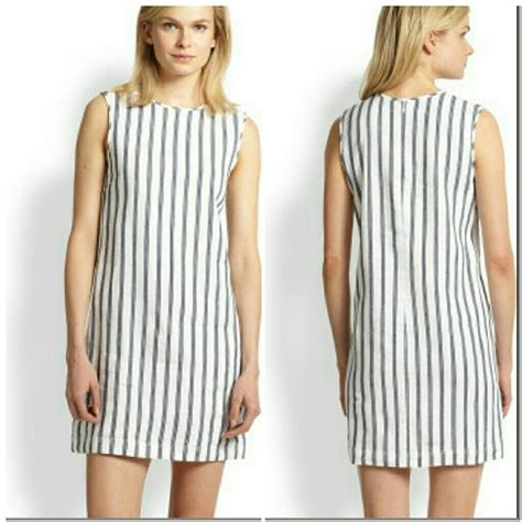 Blue Sorry With Stripe Sml Dress 90 theory dresses skirts theory striped white blue linen adraya dress 0 from