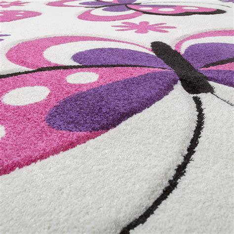 schmetterling teppich schmetterling teppich creme fuchsia lila kinderzimmer