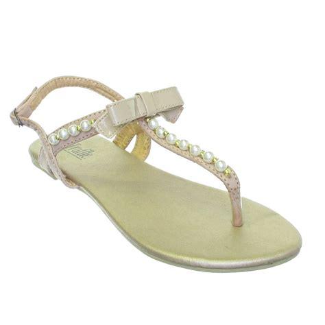 pearl flat sandals flat pearl bow toe post sandals size 3 8 ebay