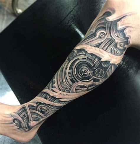 realistic mechanical leg tattoo on 3d realistic black and white mechanic leg tattoo on leg