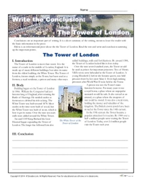 Writing Conclusions Worksheet by Write The Conclusion Writing Activity The Tower Of