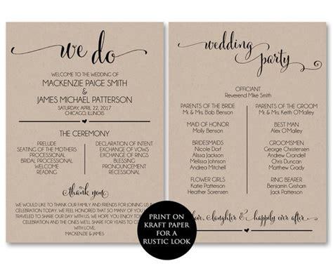 Wedding Program Template Wedding Program Printable We Do Wedding Program Templates