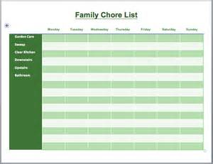 Chore List Template by Family Chore List Template Printable Templates