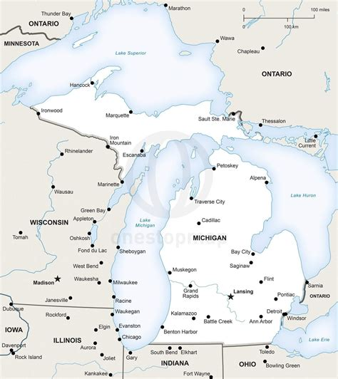 political map of michigan vector map of michigan political one stop map