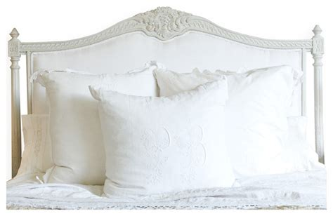 white headboard queen louis xvi french country white cotton upholstered