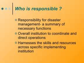 Mba In Disaster Management Distance Learning by Policy And Insititutional Arrangement For Disaster Management