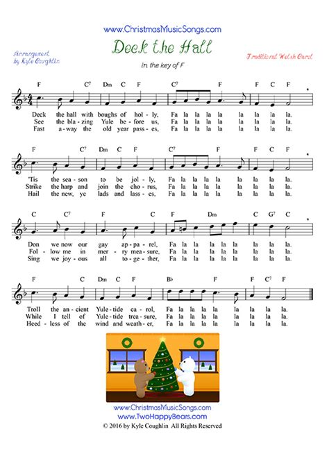 printable lyrics for deck the halls deck the halls free sheet music