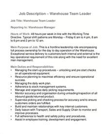 Warehouse Operative Description Template by Sle Warehouse Description 10 Exles In Pdf Word