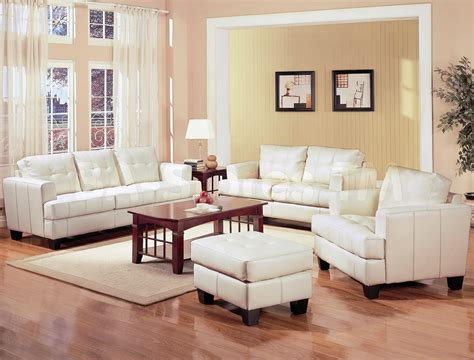 White Living Room Chairs Samuel White Leather 3 Pcs Living Room Set Sofa Loveseat And Chair Coaster Co Sofa Sets
