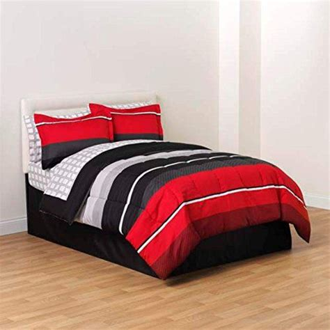 boys bed in a bag red black white gray rugby boys full comforter skirt and
