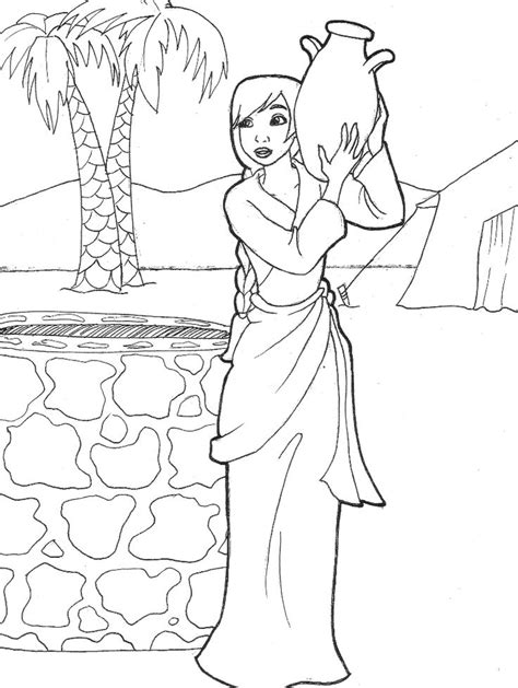 printable coloring pages woman at the well rebekah drawing water genesis 24 by likesototally