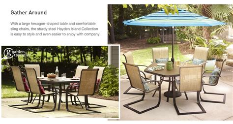 garden treasures hayden island table hexagon patio set outdoor goods