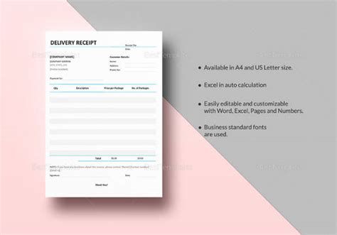 Simple Delivery Receipt Template by 13 Car Sales Receipt Sles Sle Templates