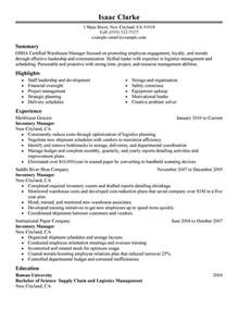 inventory resume sles unforgettable inventory manager resume exles to stand