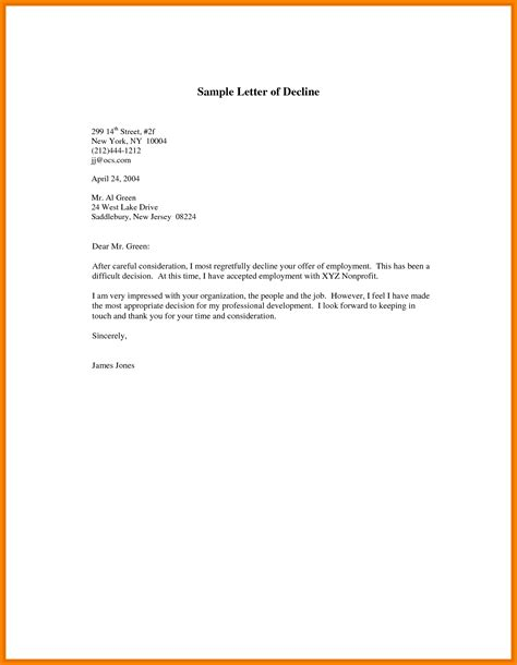Sle Letter For Declining A Offer After Accepting decline offer letter 25 images 8 letter declining