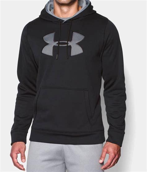 armour mens ua fleece big logo hoodie black