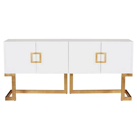White Lacquer Media Cabinet by Emmett Regency White Lacquer Gold Media Console