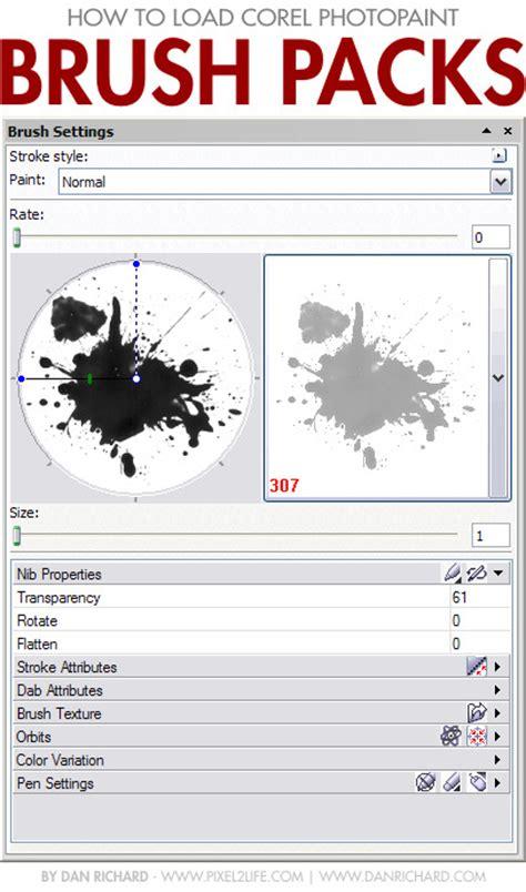 pattern brush coreldraw how to load and install corel photopaint nib brush packs