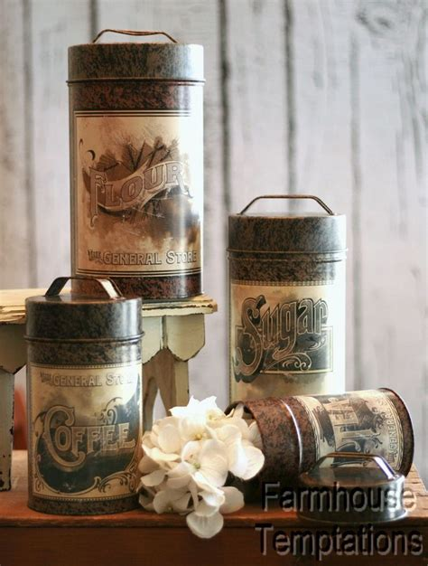 terrific shabby country chic rooster tin canister set home 96 best images about canisters on pinterest vintage