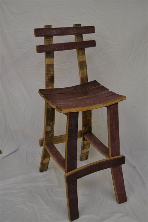 Wine Barrel Stools With Back by Barrel Stave Bar Stool With Back Maximize Yo Space