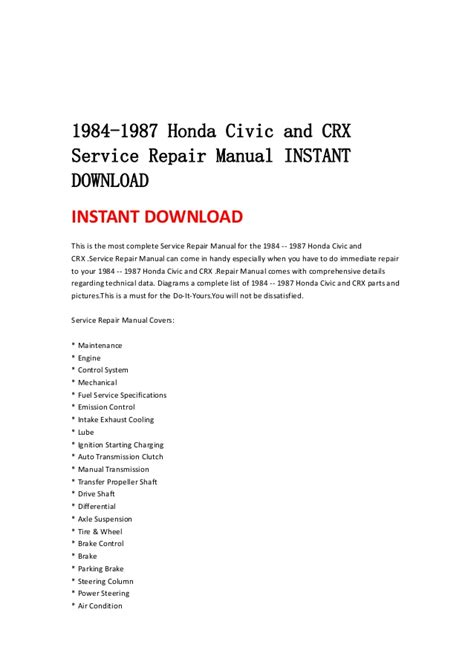 auto repair manual free download 1985 honda civic spare parts catalogs 1984 1987 honda civic and crx service repair manual instant download