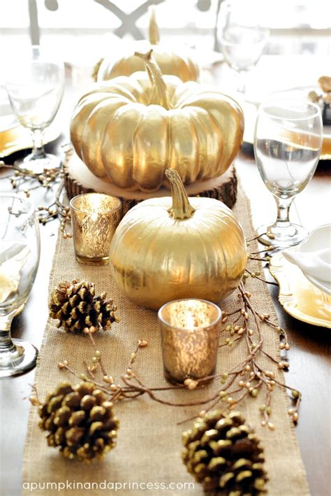 thanksgiving inspired gold table decor dinner party a pumpkin and a princess