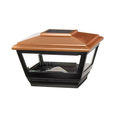 home depot solar post lights veranda 4 in x 4 in vinyl solar light copper top post
