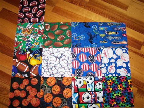 Themed Quilt Fabric by Busy Quilts Sports Themed Fabric Squares