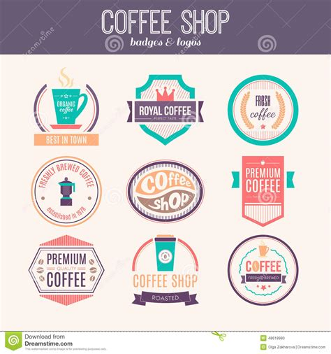 design elements of a coffee shop coffee shop logo collection stock vector image 48618980