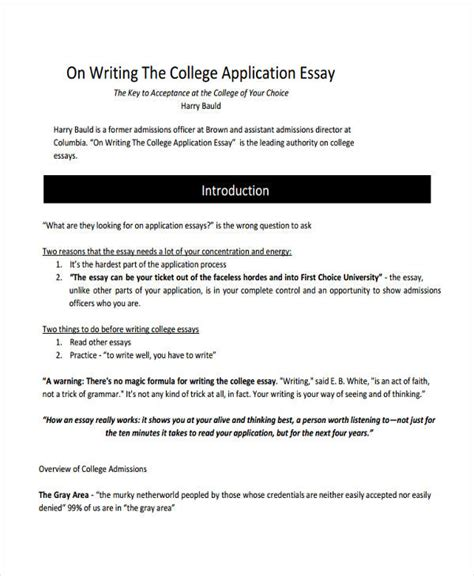 College Application Essay Introduction 29 Exles Of College Essays