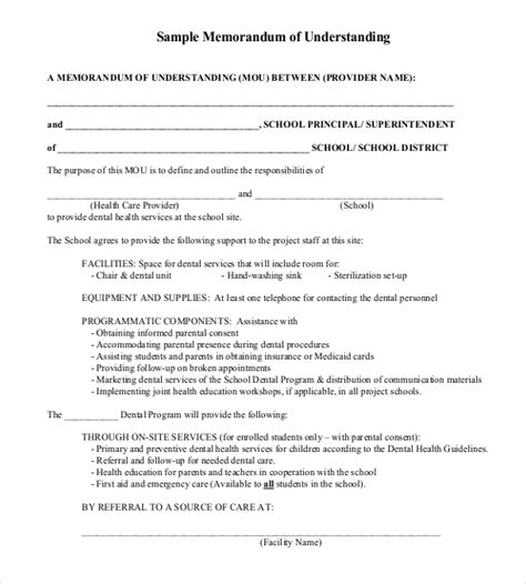 Template Mou by 35 Memorandum Of Understanding Templates Pdf Doc