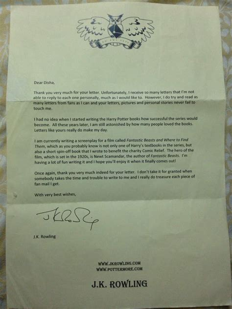 thank you letter to jk the day i got j k rowling s reply harry potter amino