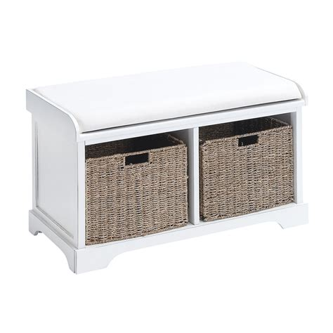 Storage Bench With Baskets by Woodland Imports Wood Basket Bench With Storage