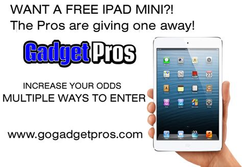 Free Ipod Giveaway - win a free ipad mini gadget pros giveaway