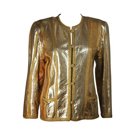 amen wardy amen wardy gold metallic foiled snakeskin jacket with knit