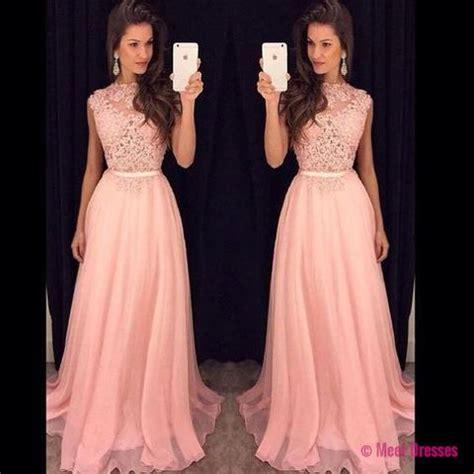 blush pink prom dresses,a line prom dress,lace prom dress