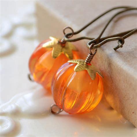 pumpkin earrings orange antiqued brass kidney