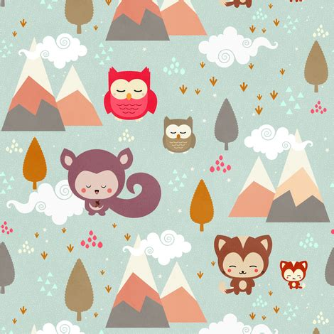 happy little friends (small) fabric kimsa spoonflower