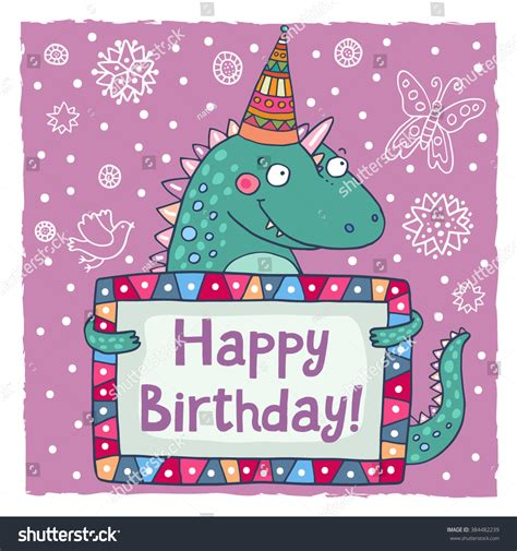 dinosaur birthday card template happy birthday greeting card template stock vector