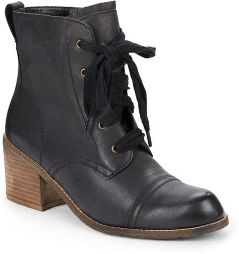 dolce vita elea lace up leather combat boots in black lyst