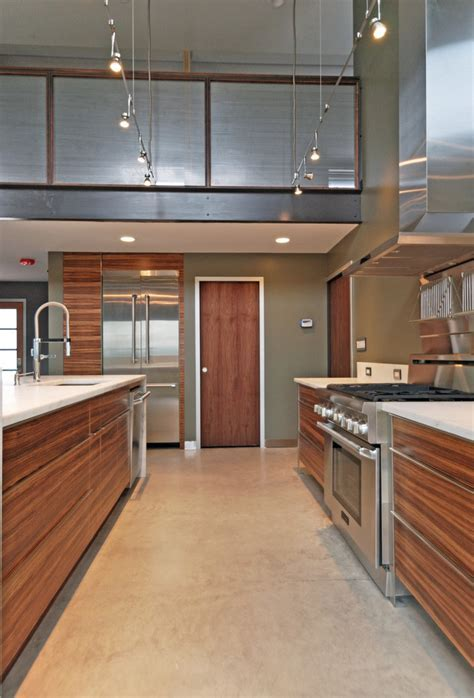 zebra wood cabinets Kitchen Modern with bar pulls concrete