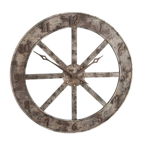 farmhouse rustic wood metal large 33 quot wall clock kathy kuo home