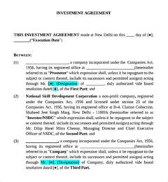 Business Investment Contract by Sle Business Investment Agreement 7 Free Documents In Pdf Word