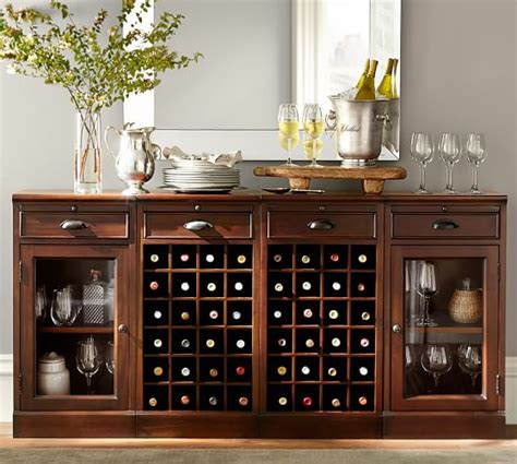 modular bar buffet with 2 wine grid bases 2 glass door