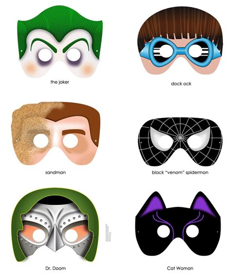 Villain Mask Template 8 masks printable pdf files craft project
