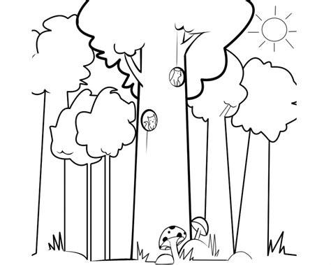 imagenes para colorear bosque imagen infantil de ardillas en el bosque para colorear